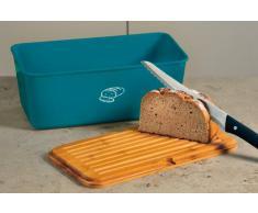 Kesper 18094 - Cestino porta pane, in bambù e melammina, dimensioni 34 x 18 x 13 cm, colore: Blu