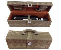 Vino Box Set da vino 6 pezzi accessori vino Set regalo con cavatappi da sommelier cavatappi tappo per bottiglia termometro per vino versatore in elegante confezione regalo in pelle Set da vino vino Set accessori LN 16 – 10