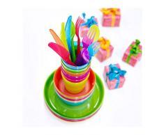 Set di posate in plastica in colori assortiti, confezione da 18, design moderno, di alta qualità