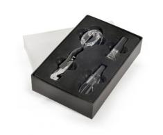 GMMH, Set da regalo con accessori per il vino, 6 pz, incl. cavatappi da sommelier, termometro, tappo, beccuccio, scatola in finta pelle, LN 16-9