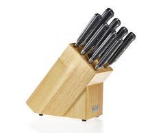 Ross Henery Professional Set Coltelli da Cucina 9 Pezzi Lama Completa Acciaio Inossidabile in Elegante Blocco di Legno Solido
