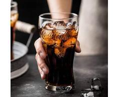 Bicchieri Coca-Cola Glass Home Retro Trasparente Tazza di Acqua Birra Tazza di Grano Creative Coke Cup, Coke Cup - Tre Pipette in Acciaio Inox al Dettaglio
