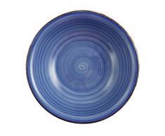 Villa dEste Baita Light Set 6 Piatti, Fondo Blu, Gres Smaltato Dipinto a Mano, 21 cm
