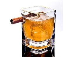 JAYLONG Bicchiere di Whisky con portaSigari, 2 Pezzi cornici doro 320ml Artigianale Piazza Birra Scotch Brandy Vino Rosso Tazze, per Gli Amanti di Sigarette Sigaro, casa e Bar,Goldenframex2