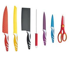 Coltelli MC Garante con ceppo girevole set 8 pezzi, super taglienti, coltelli acciaio con manici antiscivolo