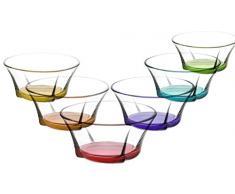Gurallar Artcraft Coppe da Dessert e antipasti. Ciotole di Vetro, Colorate, 310 CC. Confezione da 6