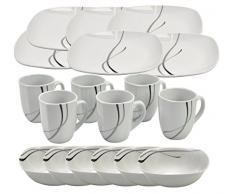 Van Well - Set da colazione Lilli 18 pz, Silver Night per 6 persone: 6 piatti e 6 tazze in porcellana bianca con linee Grigie/Nere