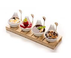 Antipastiera 4 ciotole in porcellana con cucchiaini e vassoio in legno