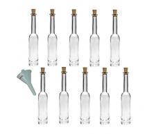 Viva Haushaltswaren - Set comprensivo di 10 bottiglie piccole Platina in vetro con tappo in sughero da riempire autonomamente capacità 40 ml imbuto con diametro da 5 cm incluso