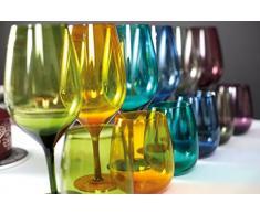 Villa d'Este Home Tivoli Happy Hour Set 6 Bicchieri Acqua, Vetro, Multicolore, 11 x 7 x 7 cm