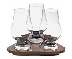 "Set da whisky, bicchiere whisky, tumbler grande ""HIGHLAND"" 3 Bicchieri + 1 Vassoio in legno, 3 x 180ml, bicchieri in stile moderno (FAN UNIKATE powered by CRISTALICA)"