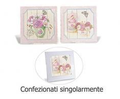 4 Sottopentole in ceramica opaca decorata con fiori base rosa con base sughero