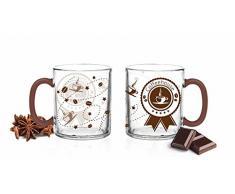6 Bicchieri 300 ML Coffee House Stampato Latte Caffè Latte Macchiato Bicchieri