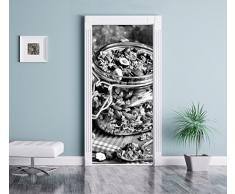 Monocrome, miele muesli in un barattolo, Formato: 200x90cm, telaio della porta, adesivi porta, porta decorazione, autoadesivi del portello