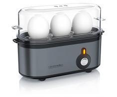 Arendo - Cuociuova - Cuoci uova compatto a 3 posti - ON OFF - Cottura selezionabile - 210 W - 1-3 uova - Piedini in gomma antiscivolo - Senza BPA - Cool Grey