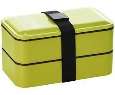 Lulu Castagnette - 5THS006LV - Bento, Set porta-pranzo, incl. borsetta, contenitore in plastica con posate, contenitore porta liquidi, Verde