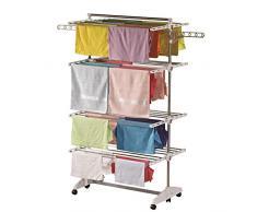 Stendibiancheria 'di lusso' One Click E4, 4 ali su 4 livelli di asciugatura; stendibiancheria ribaltabile per le famiglie numerose