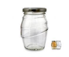 Glass Italia Vaso Vetro per Miele e marmellate BEE2BE ml 212 con Tappo, Confezione da 24 Pezzi