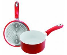 IBILI Vital - Pentola in ceramica, adatta per fornelli a induzione e in vetroceramica, diametro 14 cm, altezza 6,5 cm, colore rosso/bianco, coperchio escluso