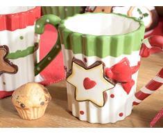 Ideapiu 4 Tazza Mug in Ceramica Colorata con biscottino Decorativo