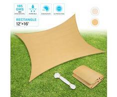 Sunkorto Tenda a Vela Parasole Rettangolare Tenda da Sole per Esterno Resistente Protezione UV 97% Corda in PE per Giardino Cortile Balcone