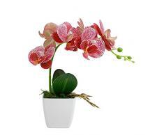 GETSO Artificiale Orchid Bonsai del Fiore Decorazione della casa Fiori Artificiali Decorativi Orchidea in Vaso, Fiori di Orchidea Falso con Il Bacino: Rosa