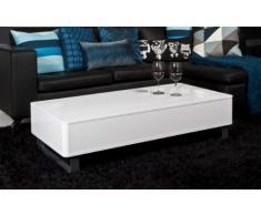 AC Design Furniture 37351 tavolino da salotto Bent, bianco lucido con funzione Lift, struttura in metallo color alluminio, circa 120 x 32 x 60 cm