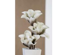 Casablanca Fiore Artificiale, pianta Decorativa, Fiore di Schiuma 'Rumba', Bianco/Grigio