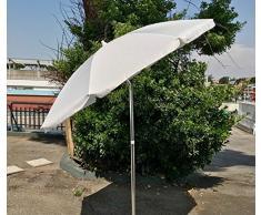 EUROLANDIA 89503BIA - Ombrellone Parasole da Spiaggia in Alluminio da 220 cm con Snodo per la Reclinazione Colore Bianco, per Spiaggia, Giardino e Balcone