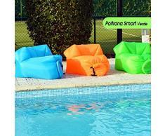Poltrona Gonfiabile ad Aria Smart New Air Chair per Spiaggia Piscina Campeggio Prato Chaise Longue Verde