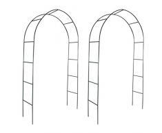 SENLUOWX - Arco da giardino in ferro per piante rampicanti (2 pezzi)