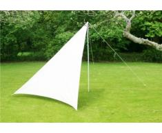 Clicca per ingrandire Vela ombra frangivento portatile da esterni in Avorio con palo, corde e picchetti – Triangolare 3m x 3m x 2.5m