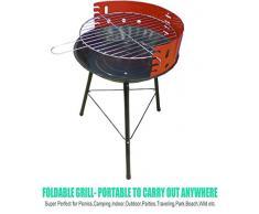 Barbecue Carbone Portatile All'aperto Da Campeggio Balcone Giardino Picnic Terrazzo Outdoor a 4 Livelli Per BBQ| Rosso e Nero| Semplice Da Usare e Facile Stoccaggio| 36 cm x 36 cm x 51.5 cm