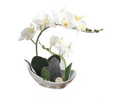 Orchidea Phalaenopsis bonsai artificiale, con vaso, ornamento per la decorazione domestica White