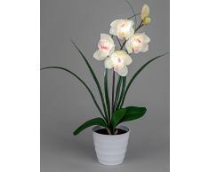 Moderno Fiore artificiale orchidea in vaso con 4 luci LED in bianco Altezza 56 cm