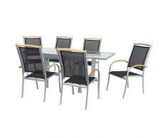 IB-Style - Mobili da gardino DIPLOMAT   6 variazioni   1x tavolo 90 - 180cm + 6x sedia impilabile in argento / nero / teak   grouppo - set - lounge - resistente alle intemperie