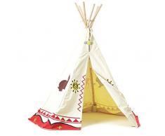 Teepee - tradizionale wigwam - tenda da gioco per bambini, tela 100% cotone, altezza ca. 150 cm, adatto per utilizzo interno ed esterno (Garden Games Wigwam)