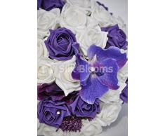 Artificiale Viola Orchidea Vanda, Allium e rosa bouquet da sposa