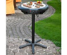 Hoberg, BBQ Plus V2, Barbecue elettrico con supporto o da tavolo, con rivestimento antiaderente in ceramica Bio-Lon, colore: Nero