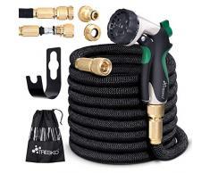 TRESKO Magic Water Tubo per irrigazione da Giardino e Terrazzo Orto Estensibile - Ideale Anche per Lavare la Macchina - Ultra Resistente con Pistola da innaffioa 10 funzioni + Raccordo in Ottone 7,5m