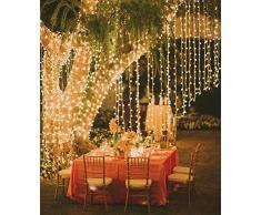 Tenda Luminosa 3Mx3M 300LED 8 Modalità Luci Stringa Fata per Decorazione Natale Halloween San Valentino matrimonio compleanno Casa Balcone Finestra (Bianco)