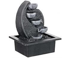ZenLight, Cascata-V2 Fontana poliresina, Colore: Grigio/Nero 17Â x 21Â x 26Â cm