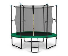 Klarfit Rocketboy 250 Tappeto Elastico trampolino da giardino (250 CM, Rete di Sicurezza, aste imbottite, scala, telo antipioggia) verde