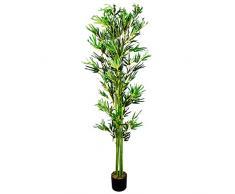 Bambù Pianta Albero Artificiale Plastica 180cm con Legno Naturale Decovego