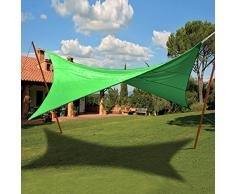 Tenda ombreggiante vela quadrata ecrù verde copertura sole ombra giardino (Verde 824/4)