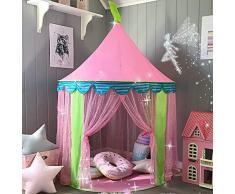 Tenda Gioco con Borsa tote per Bambine, Portatile Castello della Principessa Rosa (140 cm di altezza), di Tiny Land