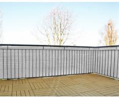 Schermo da giardino in polyrattan, balcone o steccato, tagliabile, incl. portacavi, bianco, 3 x 0,75 m