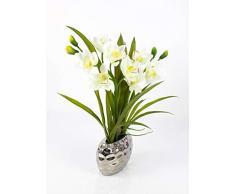 artplants Orchidea Cymbidium Artificiale Nala in Vaso Argentato, 2 rametti, Crema-Bianca, 50 cm - Orchidea Decorativa/Orchidea Ufficio