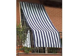 Vetrineinrete® Tenda da sole con anelli in tessuto per balcone 145x290 cm protezione dal sole per finestre verande per l' estate vari colori (Beige/Blu) C6