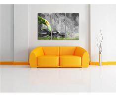 Fontana di bambù che l'attraversa in Steine3 Splitter foto tela 120x80 immagine su tela, enorme XXL Immagini completamente Pagina con la barella, stampe d'arte su murale con la struttura, gänstiger come la pittura o pittura ad